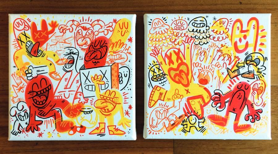 Canvas. Pintura acrílica sobre canvas de tela. 20 x 20 cms.