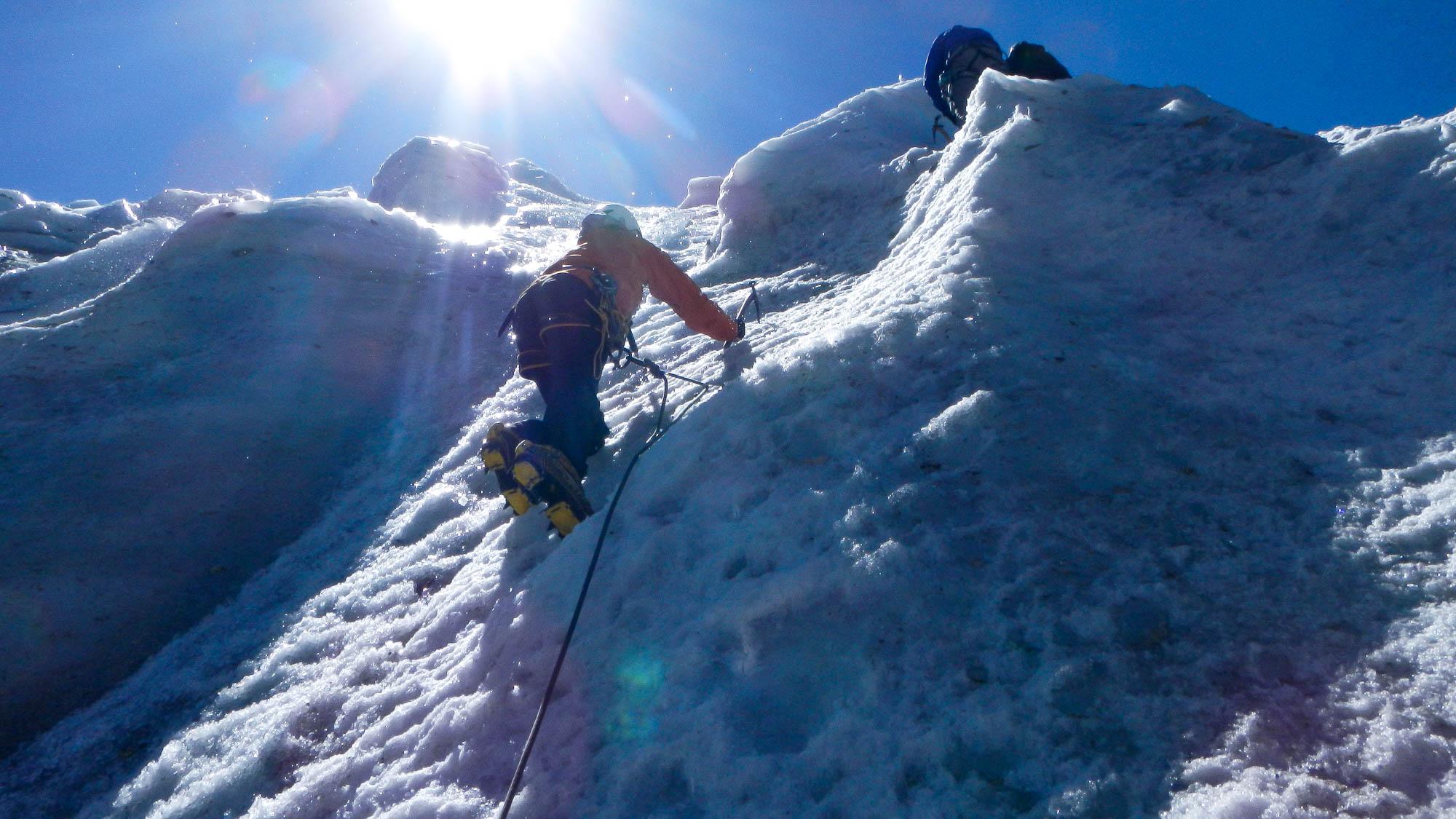 La progresión en hielo fue parte de la primera etapa del curso.