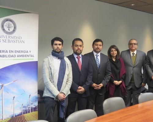 Felipe Díaz, académico IESA; Ministro Mauricio Oviedo; Ministro Marcelo Hernández; Carolina Pizarro, directora de Ingeniería en Energía y Sustentabilidad Ambiental USS; y Ministro Fabrizio Queirolo.