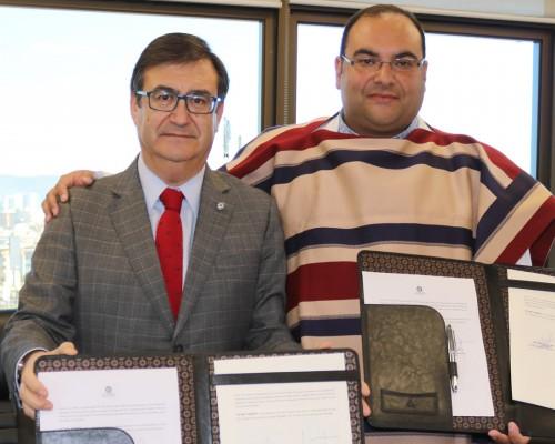 Sergio Castro, vicerrector USS Concepción, y Cristian Enríquez, presidente Club de Rodeo de Coronel.
