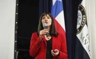 Natalia Riffo, Ministra de Deporte, durante la jornada